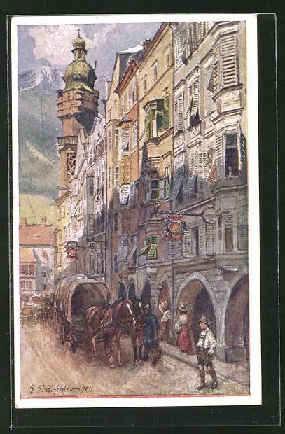 Künstler-AK E.F. Hofecker: Innsbruck, In der Herzog-Friedrichstrasse