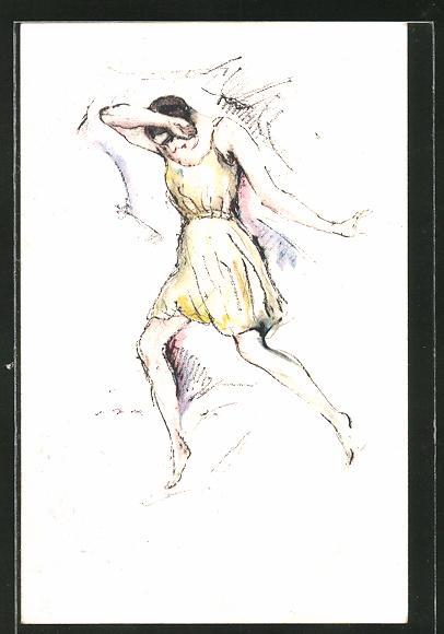 Künstler-AK sign. Heinrich Heuser: Zehn Tänze der Hannelore Ziegler, Prelude von Chopin