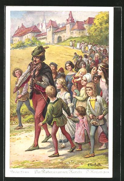 Künstler-AK Oskar Herrfurth: Der Rattenfänger von Hameln, der Rattenfänger entführt die Kinder