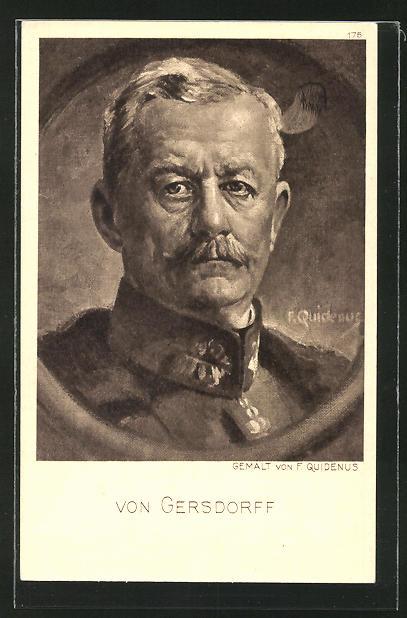 Künstler-AK Fritz Quidenus: Bilodnis des Heerführeers von Gersdorff