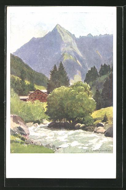 Künstler-AK Edo v. Handel-Mazzetti: Partie mit Rosshag und Tristner im Zillertal