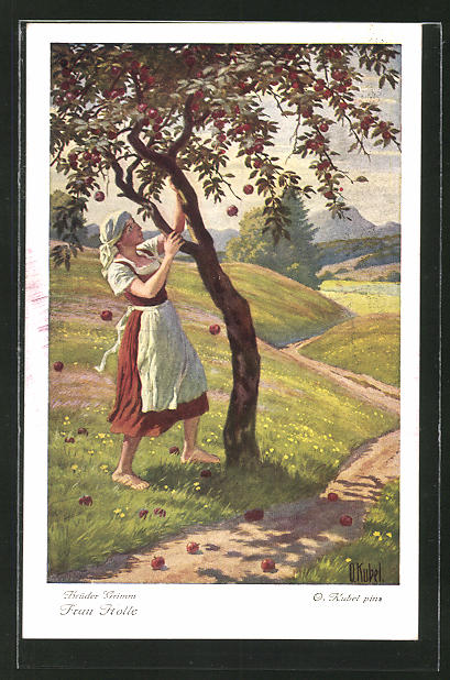 Künstler-AK Otto Kubel: Frau Holle, Goldmarie schüttelt den Apfelbaum