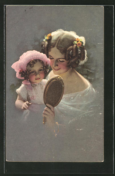 Künstler-AK Ludwig Knoefel: Mutter und Tochter betrachten sich im Spiegel