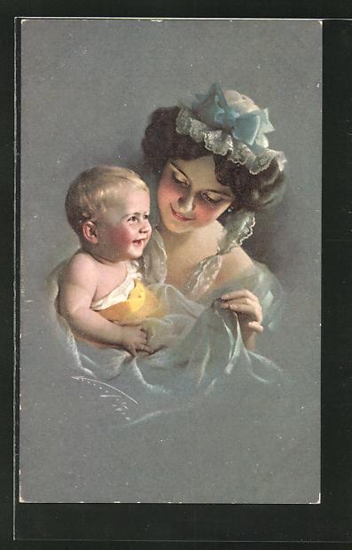 Künstler-AK Ludwig Knoefel: Mutter mit kleinem Jungen