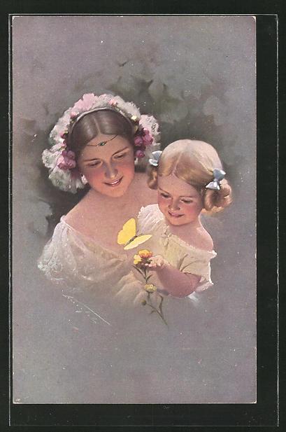 Künstler-AK Ludwig Knoefel: Mutter und Tochter finden einen Schmetterling