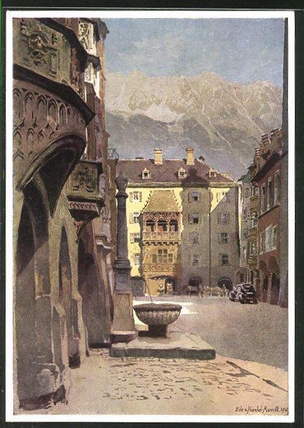 Künstler-AK Edo v. Handel-Mazzetti: Innsbruck, Blick auf das Goldene Dachl