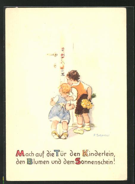 Künstler-AK Franziska Schenkel: Kinder spähen durch eine halboffene Tür