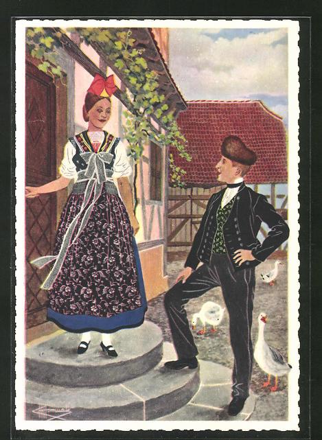 Künstler-AK Charles Homualk: Oberseebach, Paar in Trrachten