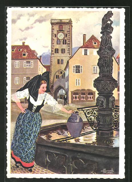 Künstler-AK Charles Homualk: Frau am Brunnen in Ribeauville