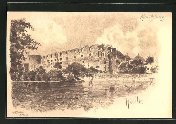 Künstler-AK Carl Jander: Halle, Ruine Moritzburg