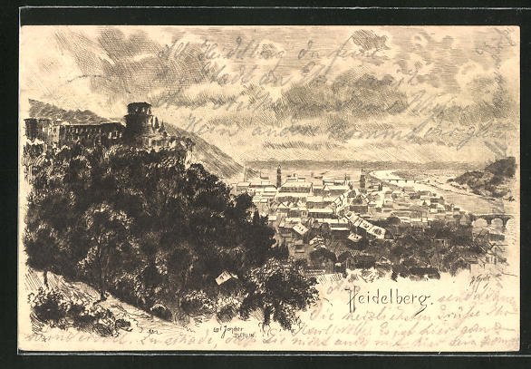 Künstler-AK Carl Jander: Heidelberg, Panorama