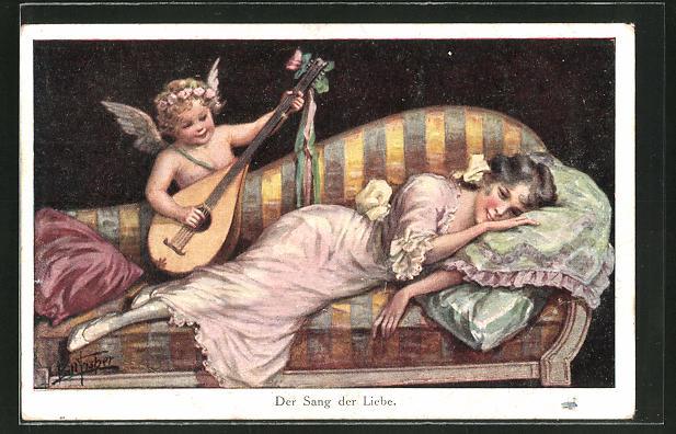 Künstler-AK Bill Fisher: Amor spielt für eine Frau auf der Laute