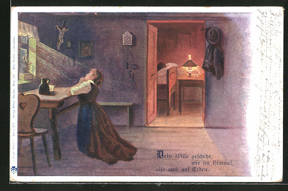 Künstler-AK E. Döcker: Frau betet vor dem Fenster