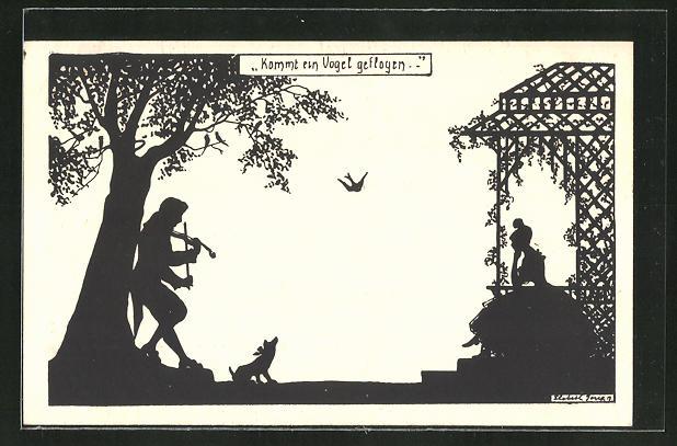 Künstler-AK Elsbeth Forck: Mann unter einem Baum Geige spielend