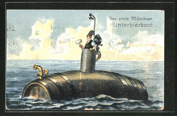 AK Trinkerhumor, U-Boot in Form eines Bierfasses mit Mann im Ausguck