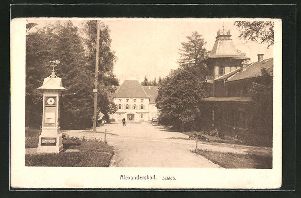 AK Bad Alexandersbad, Wettersäule am Schloss