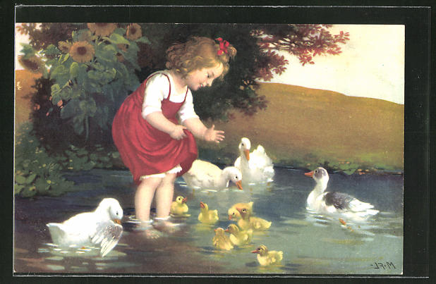 Künstler-AK Marie Flatscher (M.FL.): Kind füttert Enten am See
