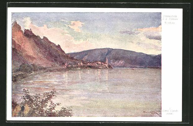 Künstler-AK Emil Czech: Dürnstein a.d. Donau, Totalansicht