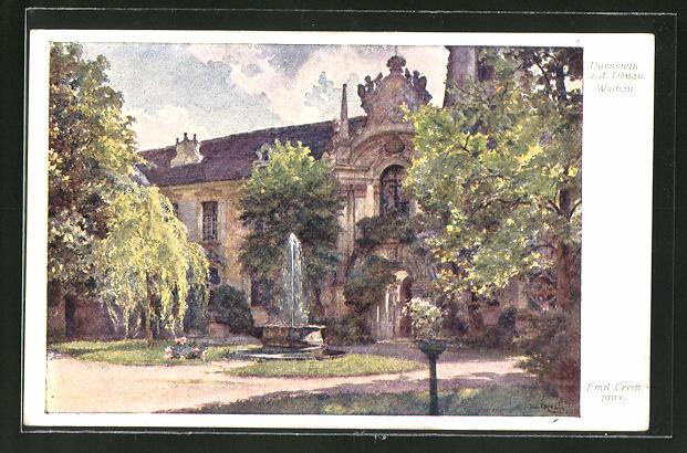 Künstler-AK Emil Czech: Dürnstein a.d. d. Donau, Kirche mit Brunnen