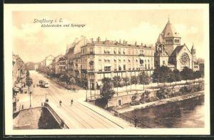 AK Strassburg i.E., Kleberstaden und Synagoge