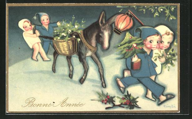 Künstler-AK Carlo Chiostri: Bonne Année, Kinder mit Esel