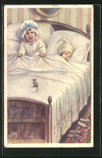Künstler-AK E. Colombo: Schreiendes Kind entdeckt eine Maus im Bett