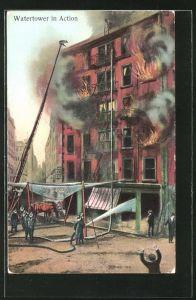 AK Watertower in Action, Feuerwehr am brennenden Haus