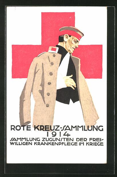 Künstler-AK Ludwig Hohlwein: Rotes Kreuz-Sammlung 1914, verwundeter Soldat