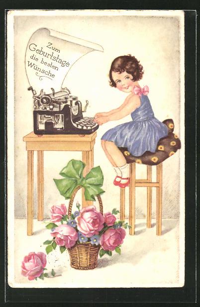 AK Mädchen schreibt Geburtstagsgrüsse an der Schreibmaschine