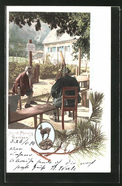AK Mann beobachtet Gemse am Fernrohr, Schild: