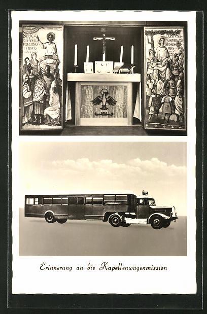 AK Königstein i. Taunus, Missionswagen der Ostpriesterhilfe, Kapellenwagen & Altar