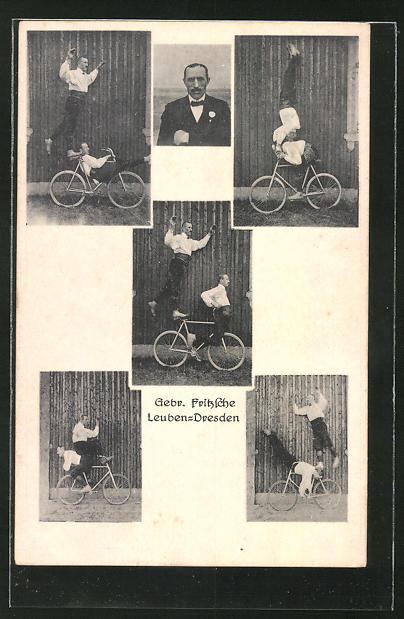 AK Akrobaten Gebrüder Fritzsche aus Dresden-Leuben mit dem Fahrrad