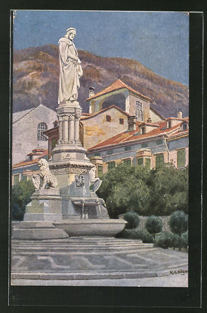 Künstler-AK Rudolf Alfred Höger: Bolzano, Monumento a Walter v. d. Vogelweide