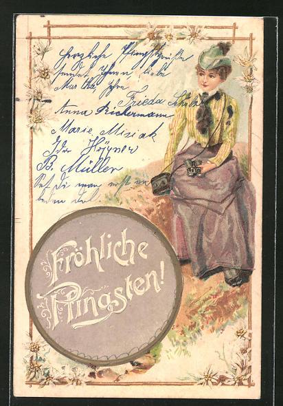 Lithographie Frau mit Fernglas bei der Rast in den Bergen, Edelweiss