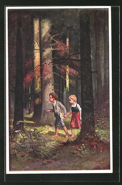 Künstler-AK August Splitgerber: Hänsel und Gretel im dunklen Wald