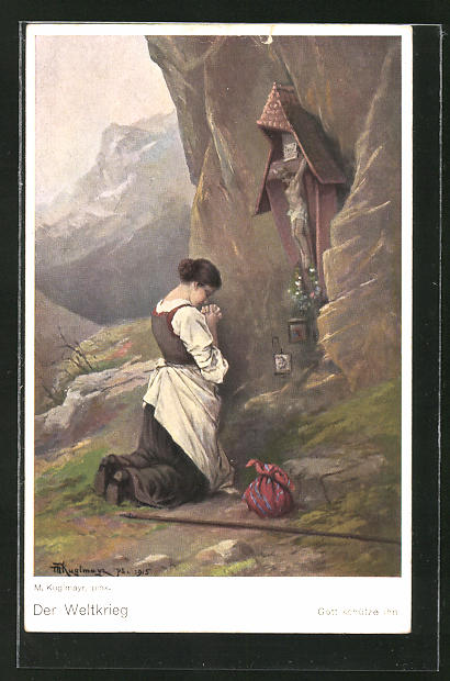Künstler-AK Max Kuglmayr: Der Weltkrieg, Frau betend am Flurkreuz