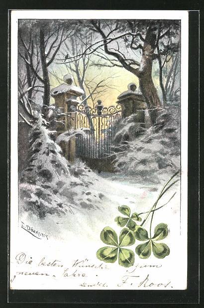 Künstler-AK E. Döcker: Verschneites Gartentor und Klee