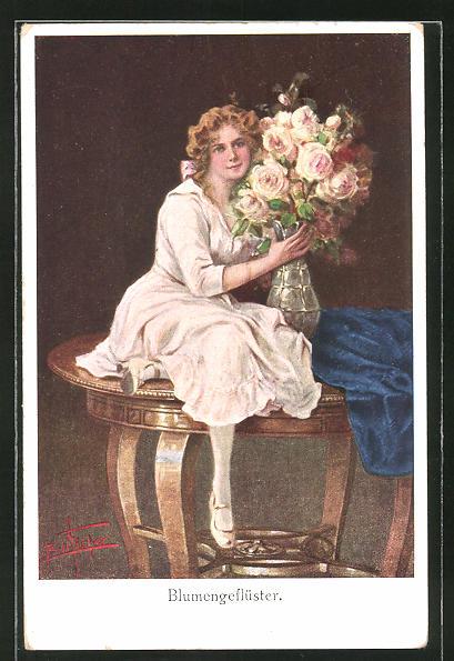 Künstler-AK Bill Fisher: Blumengeflüster, Fräulein mit Rosen
