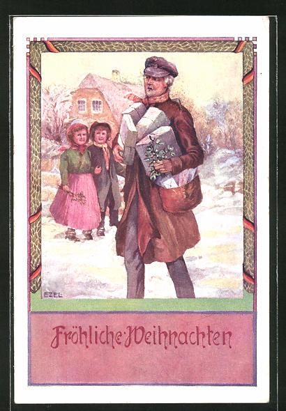 Künstler-AK Ezel: Fröhliche Weihnachten, Postillon