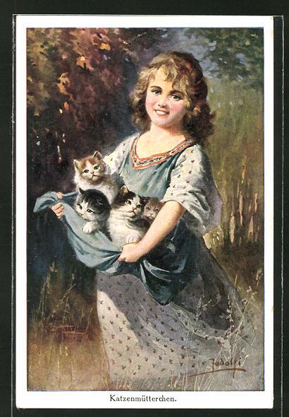 Künstler-AK Adolf (Jodolfi): Katzenmütterchen, Mädchen mit Kätzchen