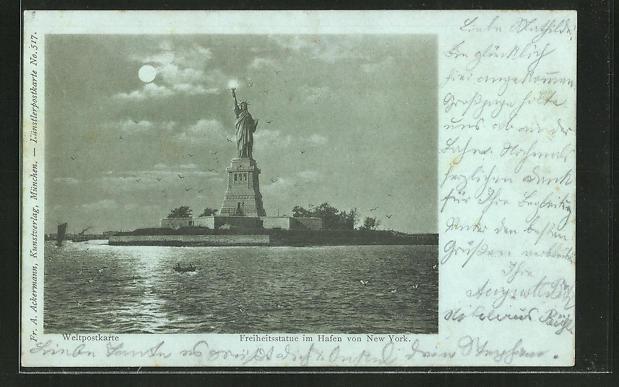 Mondschein-AK New York, Freiheitsstatue im Hafen