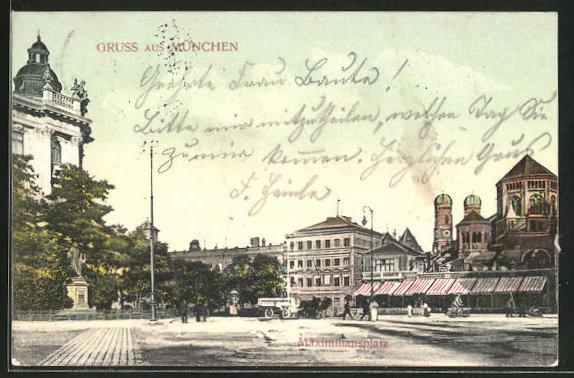 AK München, Maximiliansplatz mit Synagoge und Blick zu den Frauentürmen