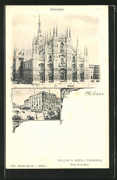 AK Milano, Cattedrale, Mailänder Dom, Bellini's Hotel Terminus