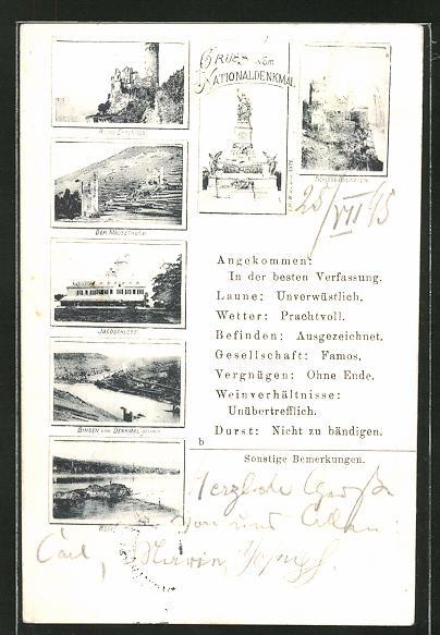 AK Nationaldenkmal auf dem Niederwald, Ruine Ehrenfels, Schloss Rheinstein, Mäusethurm
