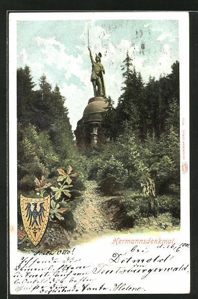 AK Blick auf das Hermannsdenkmal, Wappen