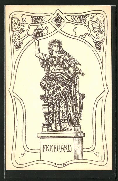 Künstler-AK Niederwald, Germania auf dem Nationaldenkmal