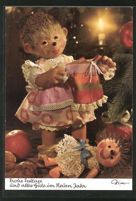 AK Mecki-Mädchen mit Puppe und Puppensachen zu Weihnachten