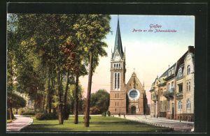 AK Giessen, Strassenpartie an der Johanniskirche