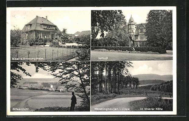 AK Wendlinghausen / Lippe, Schloss, Bibel- und Erholungsheim, Ortspanorama