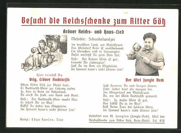 AK Kröv / Mosel, Gasthaus Reichsschenke zum Ritter Götz, Der wirt Jungle Deck